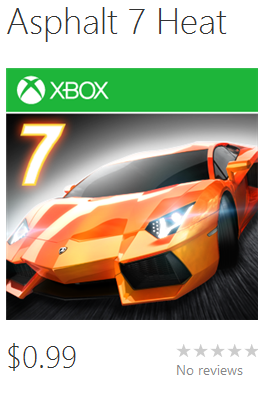 Gameloft's Asphalt 7 Heat on Windows Phone 8 store