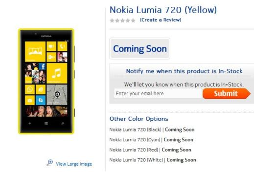 Nokia Lumia 720 Yellow India