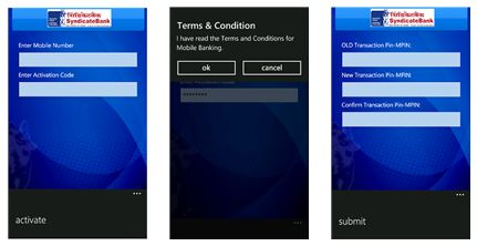 Syndicate Bank app for Lumia Windows Phone 8 & Windows Phone 7 devices
