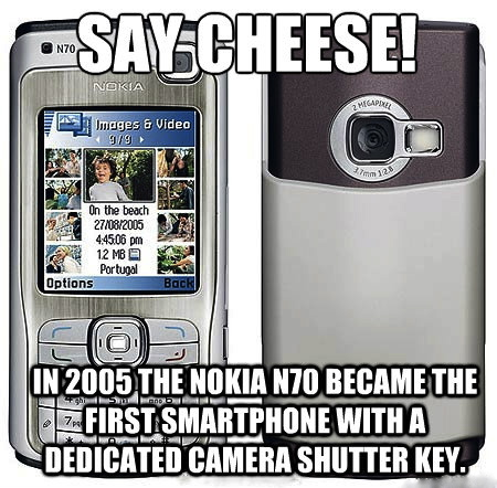 Nokia N70 - First smartphone with a dedicated camera shutter key