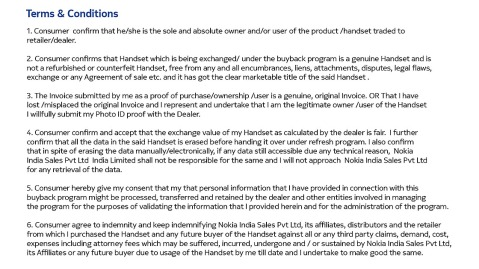 Nokia Lumia buy back terms and conditions