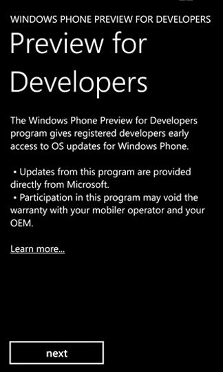 Preview for Developers app WP8 GDR3 update