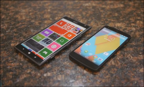 Nokia Lumia 1520 vs Google Nexus 5 Video