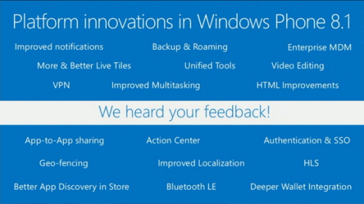 Platform innovations in WP8.1