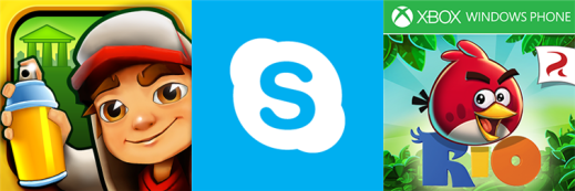 Skype, Angry Birds Rio & Subway Surfers Rome for Windows Phone