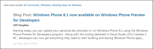 Windows Phone 8.1 14 Apr 2014