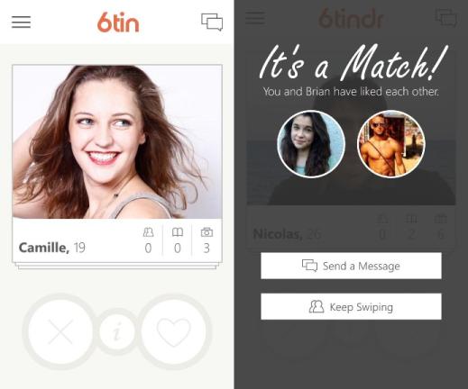 6tin Tinder app for Windows Phone 8