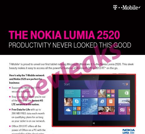 Nokia Lumia 2520 T-Mobile