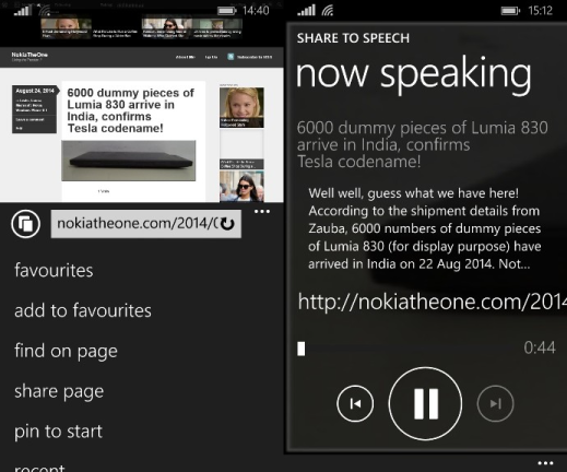 Share to Speech on Windows Phone
