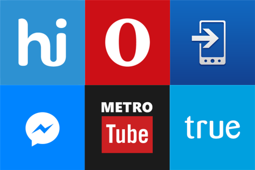 Metrotube, Hike, Messenger, Opera Mini, Truecaller and Transfer my Data for Windows Phone