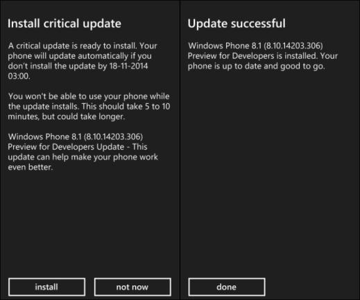 Developer Preview version 8.10.14203.306 Windows Phone