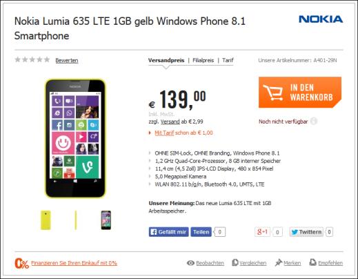 Lumia 635 with 1GB RAM image 1