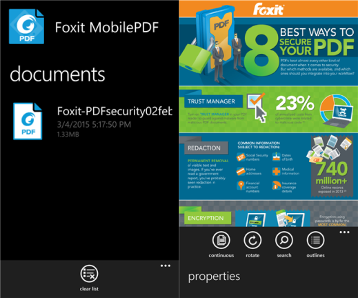 Foxit Mobile PDF for Windows Phone image 3