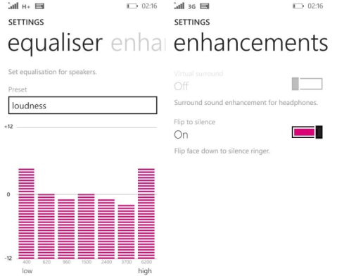 Lumia 630 Audio Equalizer in Denim Update