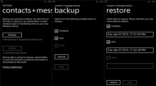 contacts+messaging backup for Windows Phone image 4