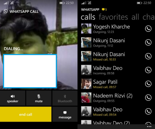 WhatsApp Voice Calling on Windows Phone 8.1